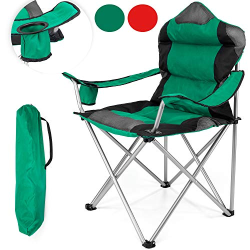 tresko campingstuhl faltbar bis 150 kg angelstuhl faltstuhl klappstuhl mit armlehnen und. Black Bedroom Furniture Sets. Home Design Ideas